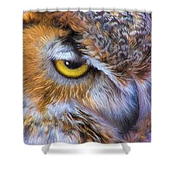 Shower Curtain featuring the painting Beautiful Great Horned Owl Bird Golden Eye by Tracie Kaska