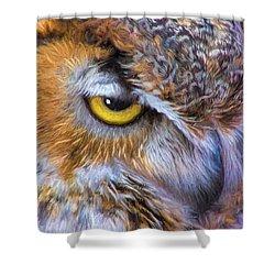 Beautiful Great Horned Owl Bird Golden Eye Shower Curtain