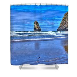 Beautiful Haystack Rock And The Needles Shower Curtain by David Patterson