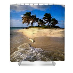Shower Curtain featuring the painting Beautiful Island by Bruce Nutting