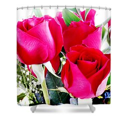 Beautiful Neon Red Roses Shower Curtain