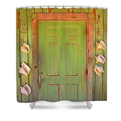 Beautiful Old Door With Seashells Shower Curtain by John Malone