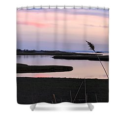 Beautiful Pink And Purple Sunset Over A New England Tidal Salt M Shower Curtain by Marianne Campolongo