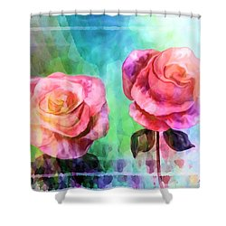 Beautiful Pink Roses Shower Curtain by Annie Zeno
