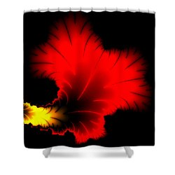 Beautiful Red And Yellow Floral Fractal Artwork Square Format Shower Curtain by Matthias Hauser