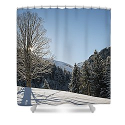 Beautiful Tree In Snowy Landscape On A Sunny Winter Day Shower Curtain by Matthias Hauser