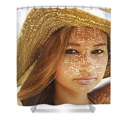 Beautiful Woman At The Beach Shower Curtain by Kicka Witte
