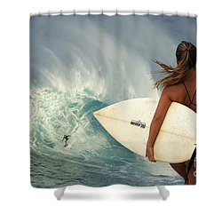 Surfer Girl Meets Jaws Shower Curtain