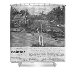 Shower Curtain featuring the painting Beaver Pond - Article - Mary Krupa by Bernadette Krupa