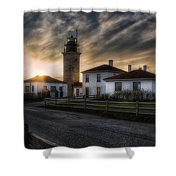 Beavertail Lighthouse Sunset Shower Curtain by Joan Carroll