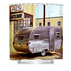 Becky's Vintage Travel Trailer Shower Curtain by Michael Pickett