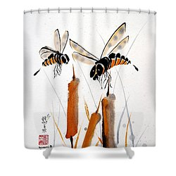 Bee-ing Present Shower Curtain by Bill Searle