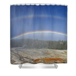Beehive's Double  Rainbow Shower Curtain