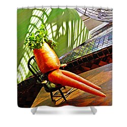 Beer Belly Carrot On A Hot Day Shower Curtain by Sarah Loft