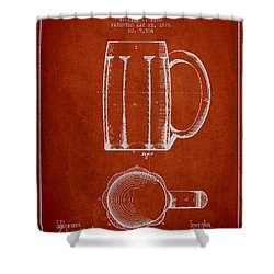 Beer Mug Patent From 1876 - Red Shower Curtain by Aged Pixel