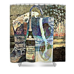 Shower Curtain featuring the mixed media Beer On Tap by Ally  White