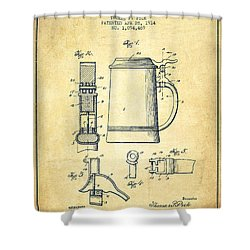 Beer Stein Patent From 1914 -vintage Shower Curtain by Aged Pixel