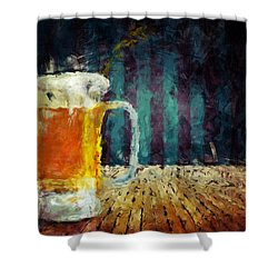 Beer Time Shower Curtain by Adam Vance