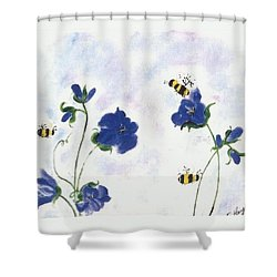 Bees At Lunch Time Shower Curtain by Francine Heykoop