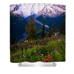 Before Dawn At Mount Rainier Shower Curtain by Inge Johnsson