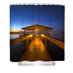 Before Dawn At The Dock Shower Curtain by Debra and Dave Vanderlaan