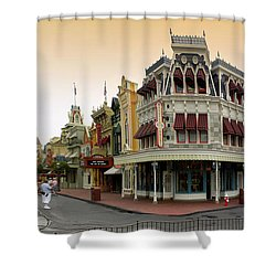 Before The Gates Open Early Morning Magic Kingdom With Castle. Shower Curtain by Thomas Woolworth