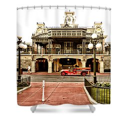 Before The Gates Open The Magic Kingdom Train Station Shower Curtain by Thomas Woolworth