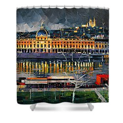 Before The Storm - View On Hotel Dieu Lyon And The Rhone France Shower Curtain