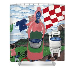 Begin With Them Shower Curtain by Patricia Sabree