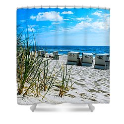 Behind The Dunes -light Shower Curtain by Hannes Cmarits