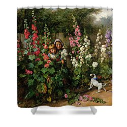 Behind The Hollyhocks Shower Curtain by Charles Hunt