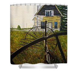 Shower Curtain featuring the painting Behind The Old Church by Marilyn  McNish