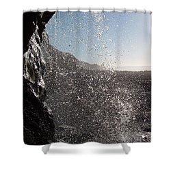 Behind The Waterfall Shower Curtain by Richard Brookes
