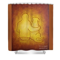 Being There 2 - Dog And Friend Shower Curtain