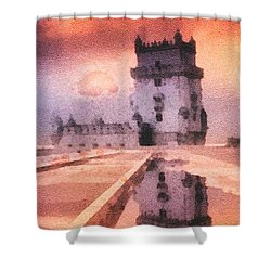 Belem Tower Shower Curtain by Mo T