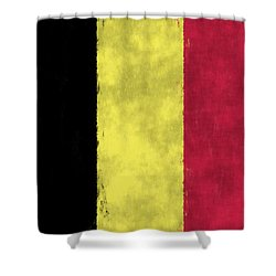 Belgium Flag Shower Curtain by World Art Prints And Designs
