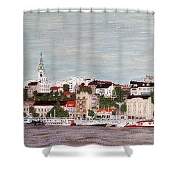 Shower Curtain featuring the painting Belgrade Serbia by Jasna Gopic