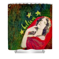 Shower Curtain featuring the mixed media Believe by Desiree Paquette