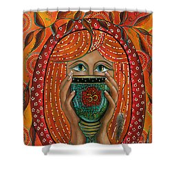 Shower Curtain featuring the painting OM by Deborha Kerr