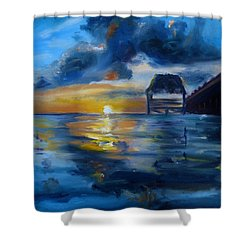 Belizean Sunrise Shower Curtain