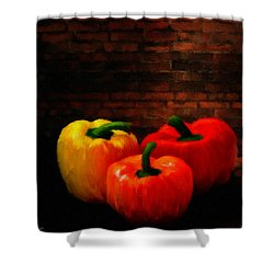 Bell Peppers Shower Curtain by Lourry Legarde