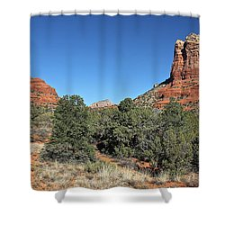 Shower Curtain featuring the photograph Bell Rock And Courthouse Butte by Penny Meyers