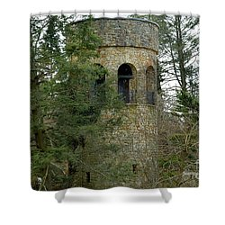Shower Curtain featuring the digital art Bell Tower by Jeannie Rhode