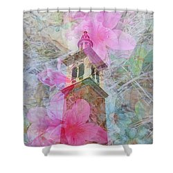 Bell Tower Wrapped In Spring Shower Curtain by Judy Hall-Folde