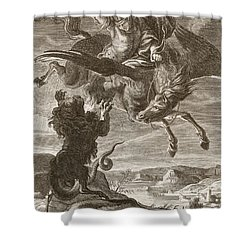 Bellerophon Fights The Chimaera, 1731 Shower Curtain by Bernard Picart