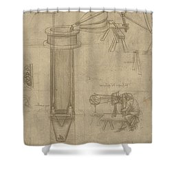 Bellows Perspectograph With Man Examining Inside From Atlantic Codex Shower Curtain by Leonardo Da Vinci