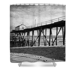 Shower Curtain featuring the photograph Belmar Fishing Pier In Black And White by Debra Fedchin
