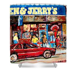 Ben And Jerrys Ice Cream Parlor Shower Curtain by Carole Spandau
