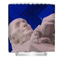 Ben Franklin In Blue I Shower Curtain by Richard Reeve