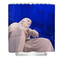 Ben Franklin In Blue II Shower Curtain by Richard Reeve